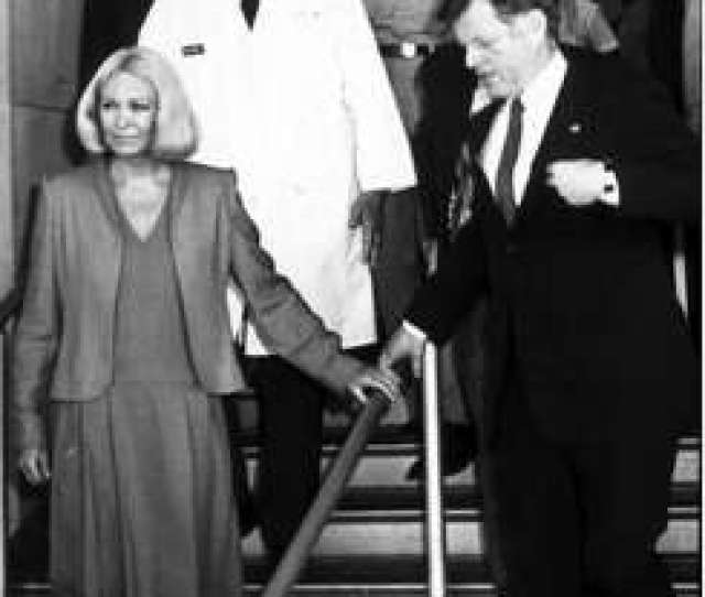 1of7dr Basil Pruitt In White Coat Escorts U S Sen Ted Kennedy D Mass And His Wife Joan Kennedy To Make Rounds At The Burn Center In San Antonio