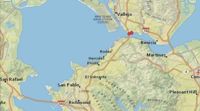 Deux tremblements de terre ont frappé Crockett, en Californie, samedi après-midi. Photo: USGS