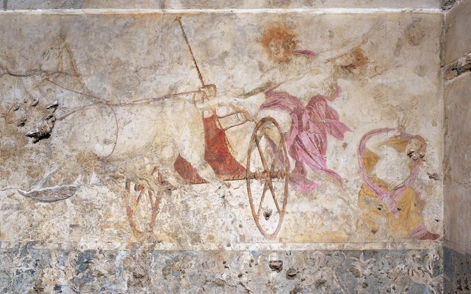 Στη φωτογραφία η τοιχογραφία «Η αρπαγή της Περσεφόνης» στους τάφους των Αιγών.