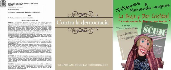 Portada del libreto Contra la democracia y el cartel de La Bruja y Don Cristóbal de Títeres desde abajo | Títeres desde abajo