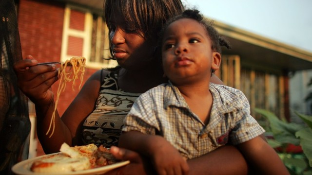 A mother and son in New Orleans' Lower Ninth Ward.