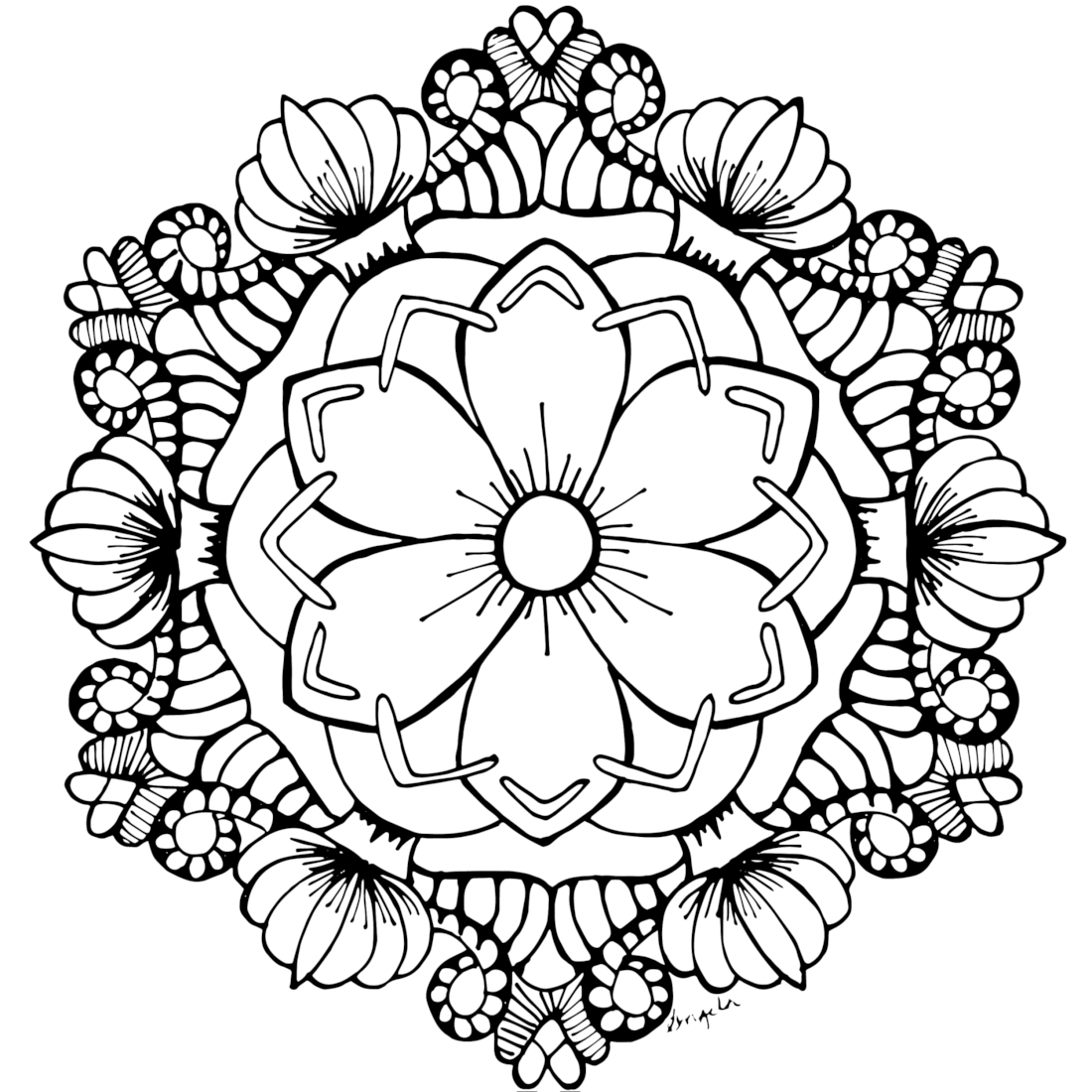 It is a picture of Free Printable Flower Coloring Pages for Adults intended for wild flower