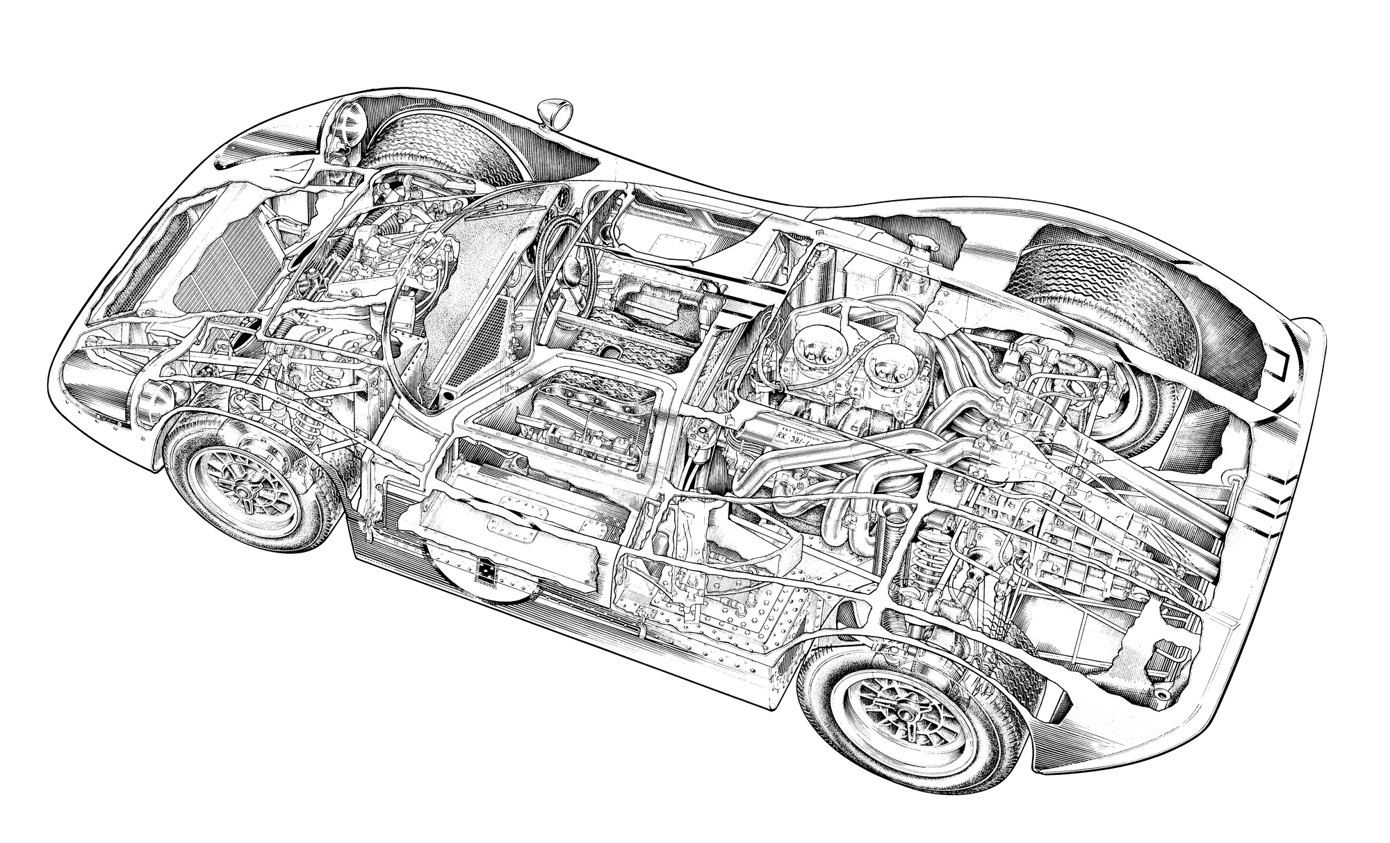 Ford Gt40 Mkiv Cut Away Drawing