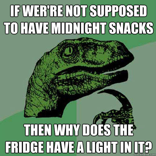 If wer're not supposed to have midnight snacks then why does the fridge have a light in it?