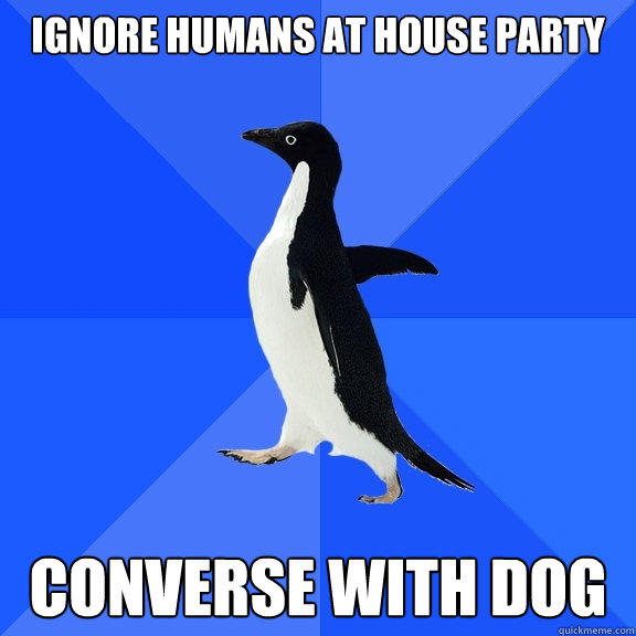 Ignore humans at house party converse with dog