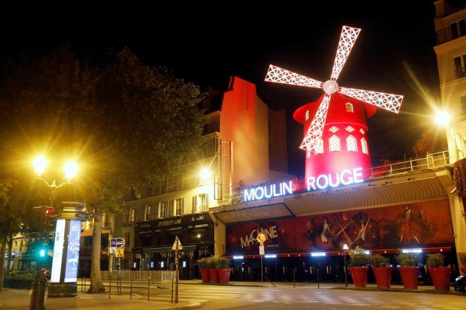 Empty streets around the Moulin Rouge cabaret during the late-night curfew in Paris, 17 October, 2020.