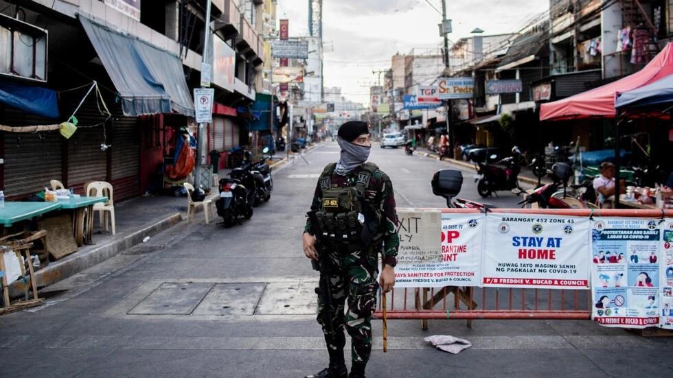 Một khu phố thủ đô Manila (Philippines) bị phong tỏa để chống dịch Covid-19. Ảnh chụp ngày 24/04/2020.
