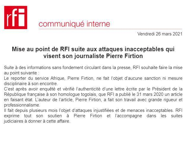 Press release from the management of Radio France internationale