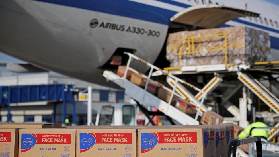 Trung Quốc viện trợ khẩu trang và thiết bị y tế cho Hy Lạp. Ảnh ngày 21/03/2020.