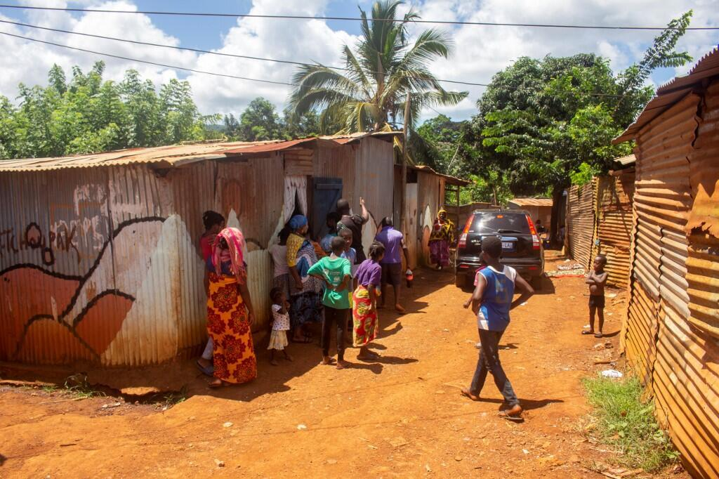 Social distancing is complicated for the 1,000 inhabitants of the  Karidjavendza slum in Kahani, Mayotte.