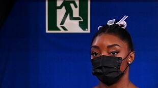 American gymnast Simone Biles at the Olympic Games in Tokyo on July 27, 2021.