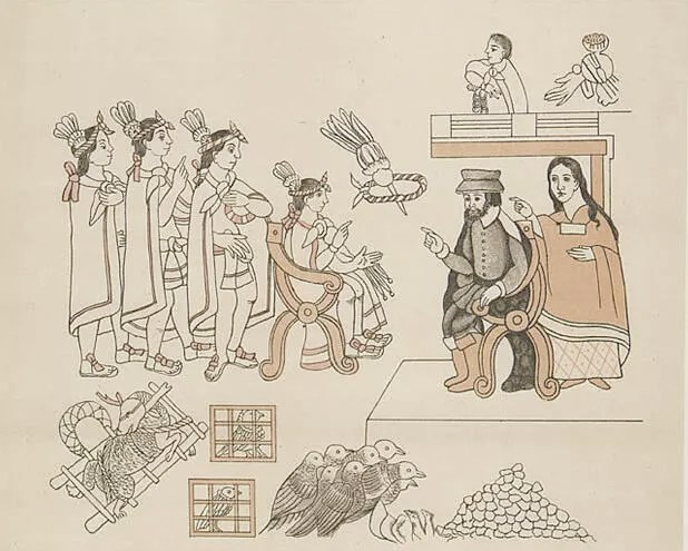 Hernán Cortés y la Malinche se encuentran con Moctezuma II, el 8 de noviembre de 1519.