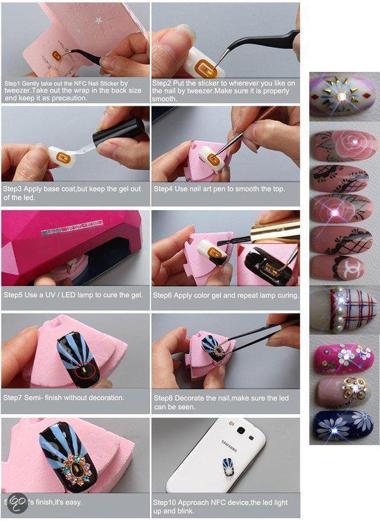 Nfc Led Crystal Nail Art Flash Sticker