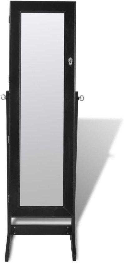 Sieradenkast Met LED Lamp En Spiegeldeur Zwart