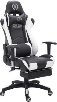 Clp Managerstoel TURBO directiestoel, Gaming chair met voetsteun, hoogte verstelbaar, ergonomisch, belastbaar tot 150 kg - zwart/wit,