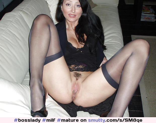 Mature Spread Pussy Stockings