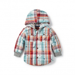 Kamya Plaid Button Hoodie for Baby Boys | Tea Collection