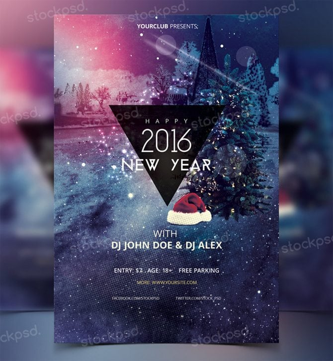 Best Free Christmas And New Year PSD Flyers To Promote Your Event free new years eve psd flyers