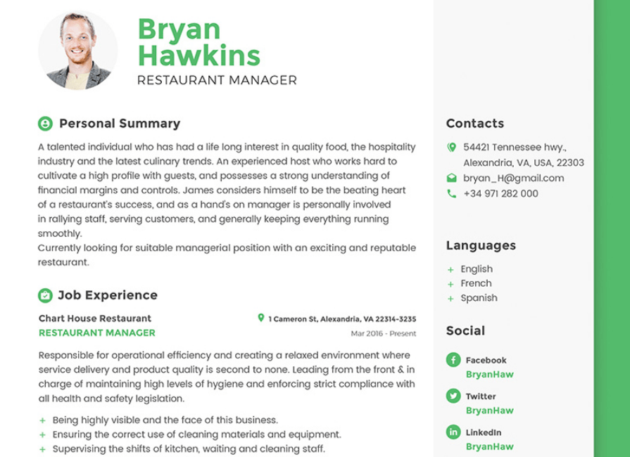 Bryan Hawkins - Restaurant Manager Resume Template