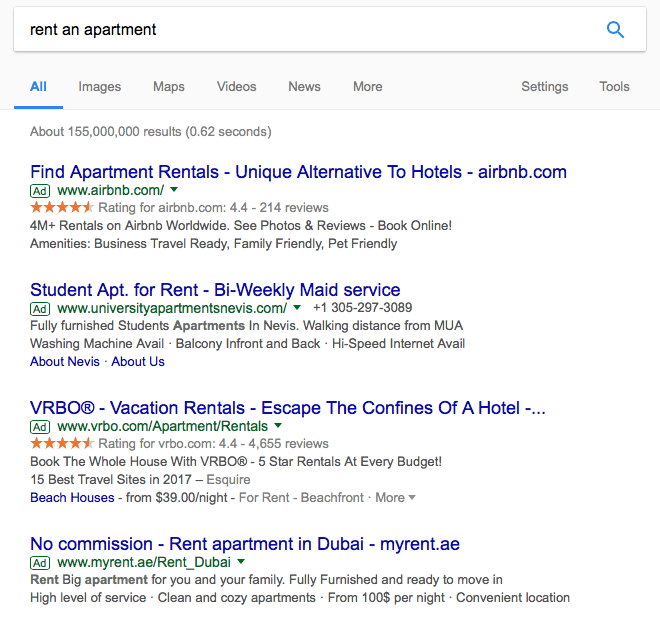 too many ads on the first google page results