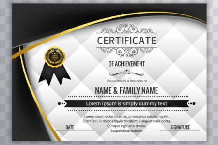 50 Multipurpose Certificate Templates and Award Designs For Business     With black wavy forms modern certificate design