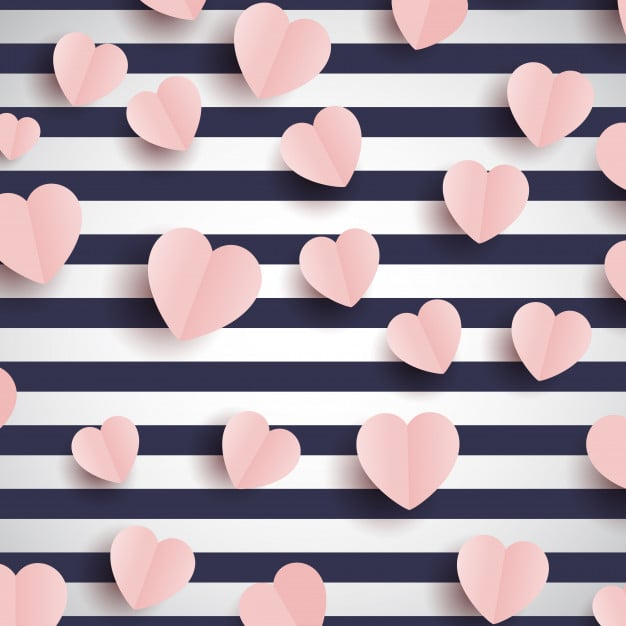 pink hearts striped background