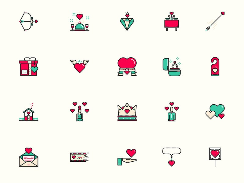 Valentines Day Icons Sketch Resource