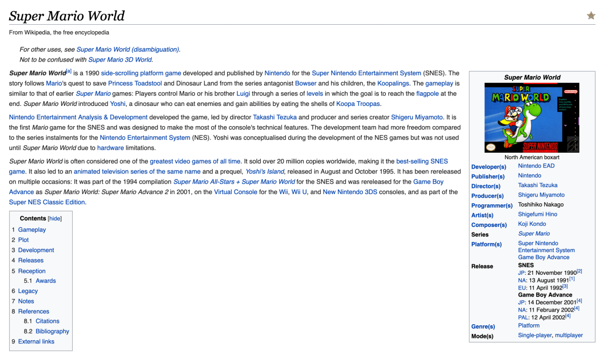 Super Mario World Wikipedia Search