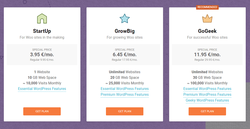 SiteGround WooCommerce plans