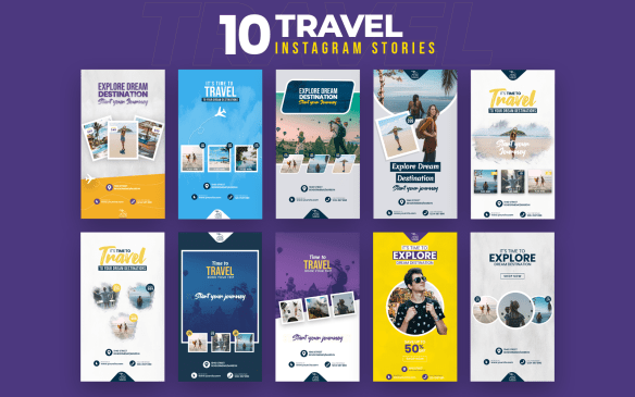 Travel 10 Instagram Stories Social Media Templates