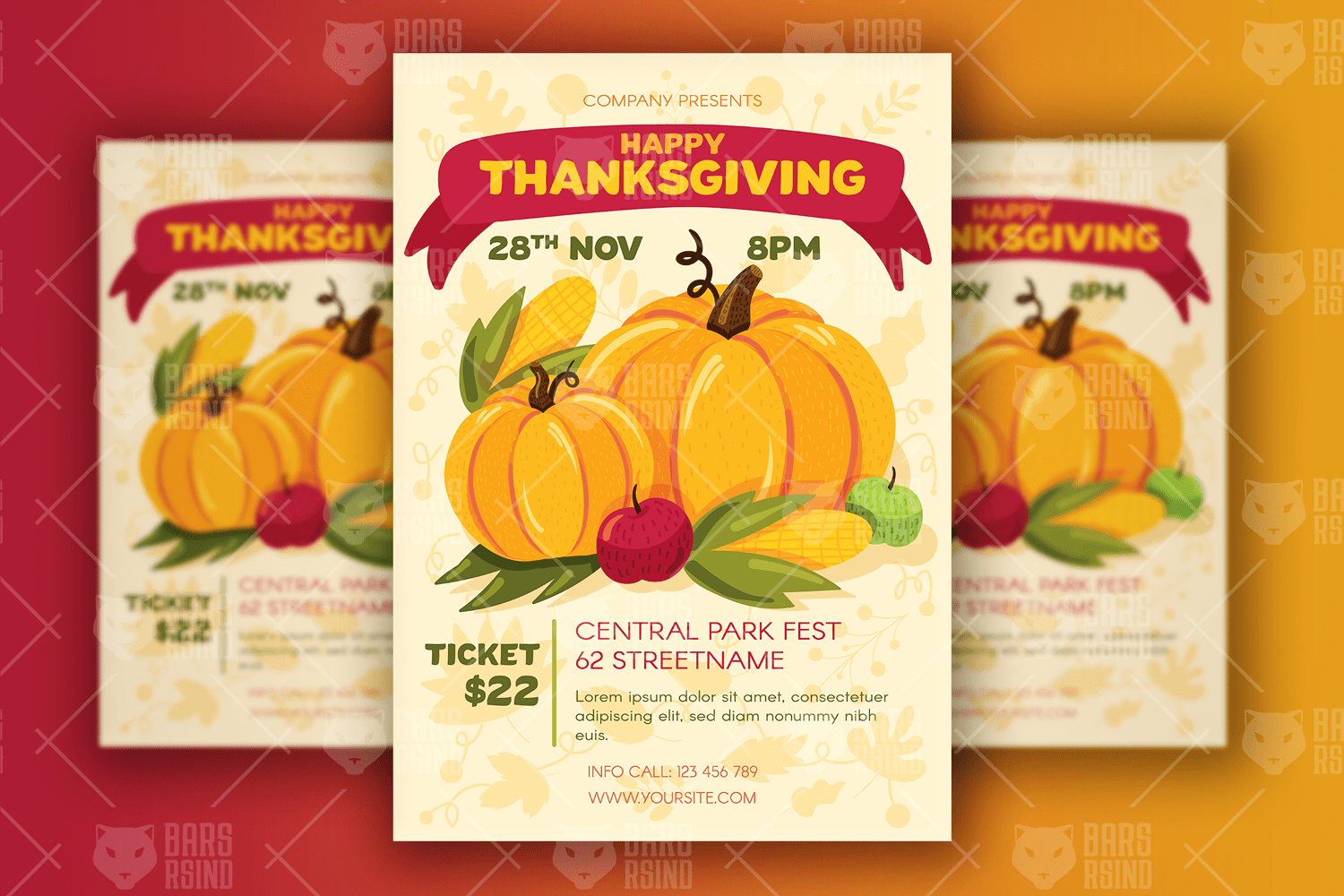 Thanksgiving Poster With Pumpkins Design Creative Flyer Template