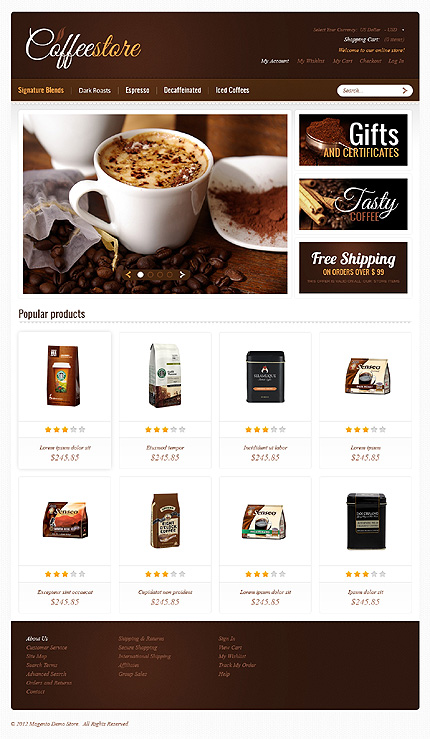 Strong Coffee Magento Theme Website Templates