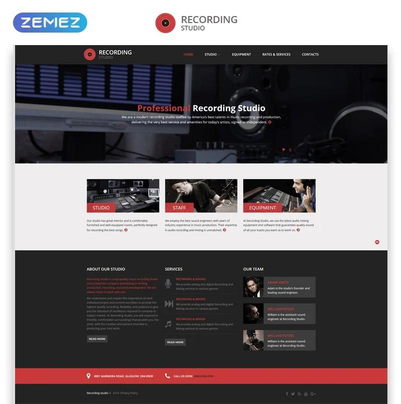 Recording Studio Music Minimal Responsive Html Website Template