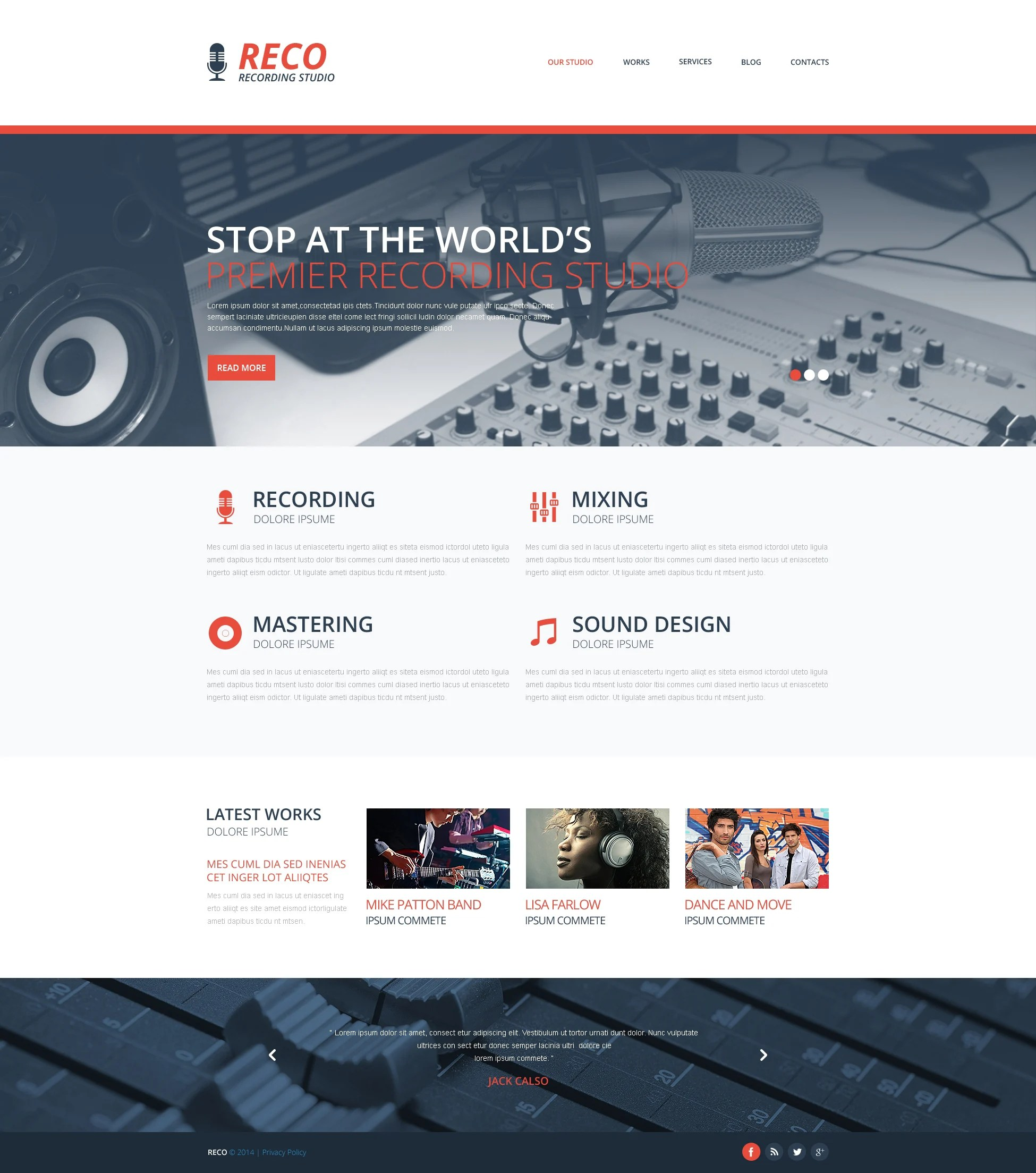 Best Recording Studio Website Templates