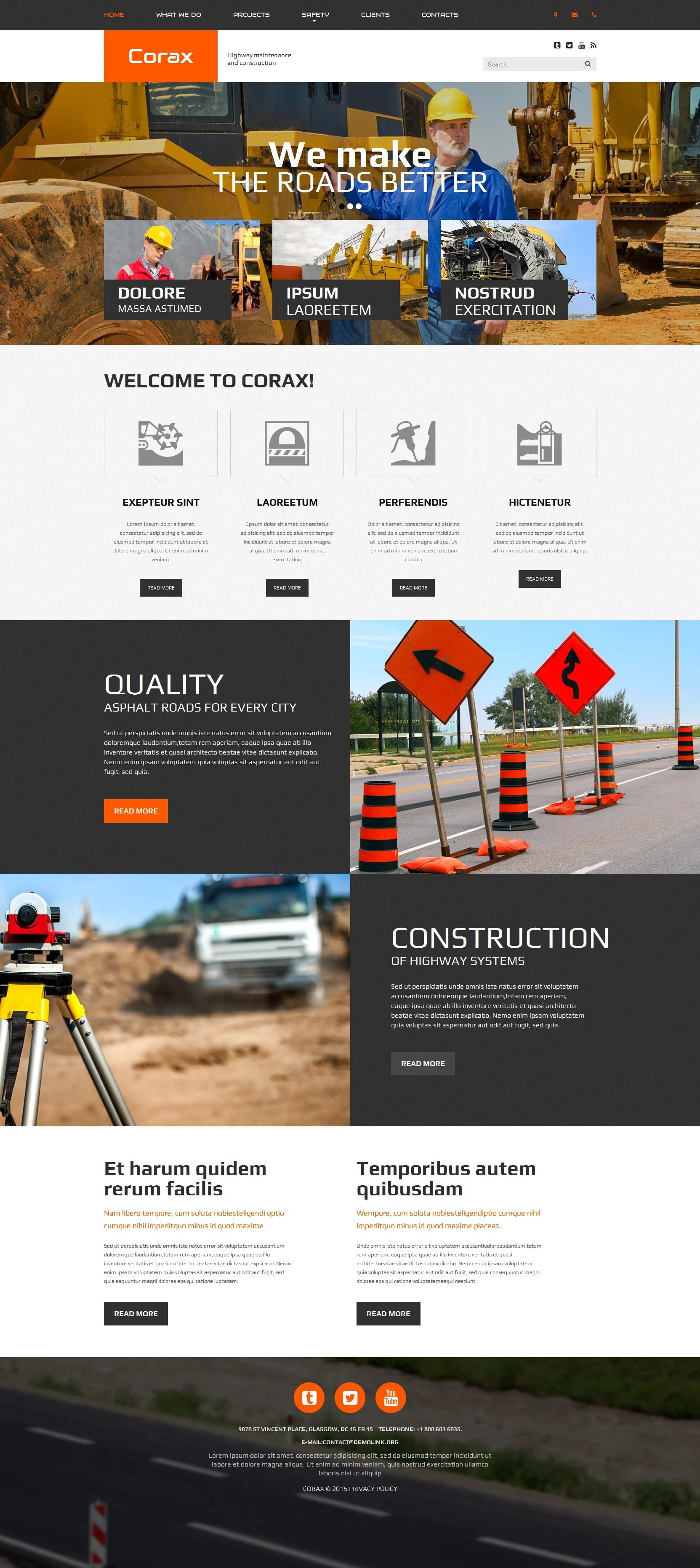 construction company website templates