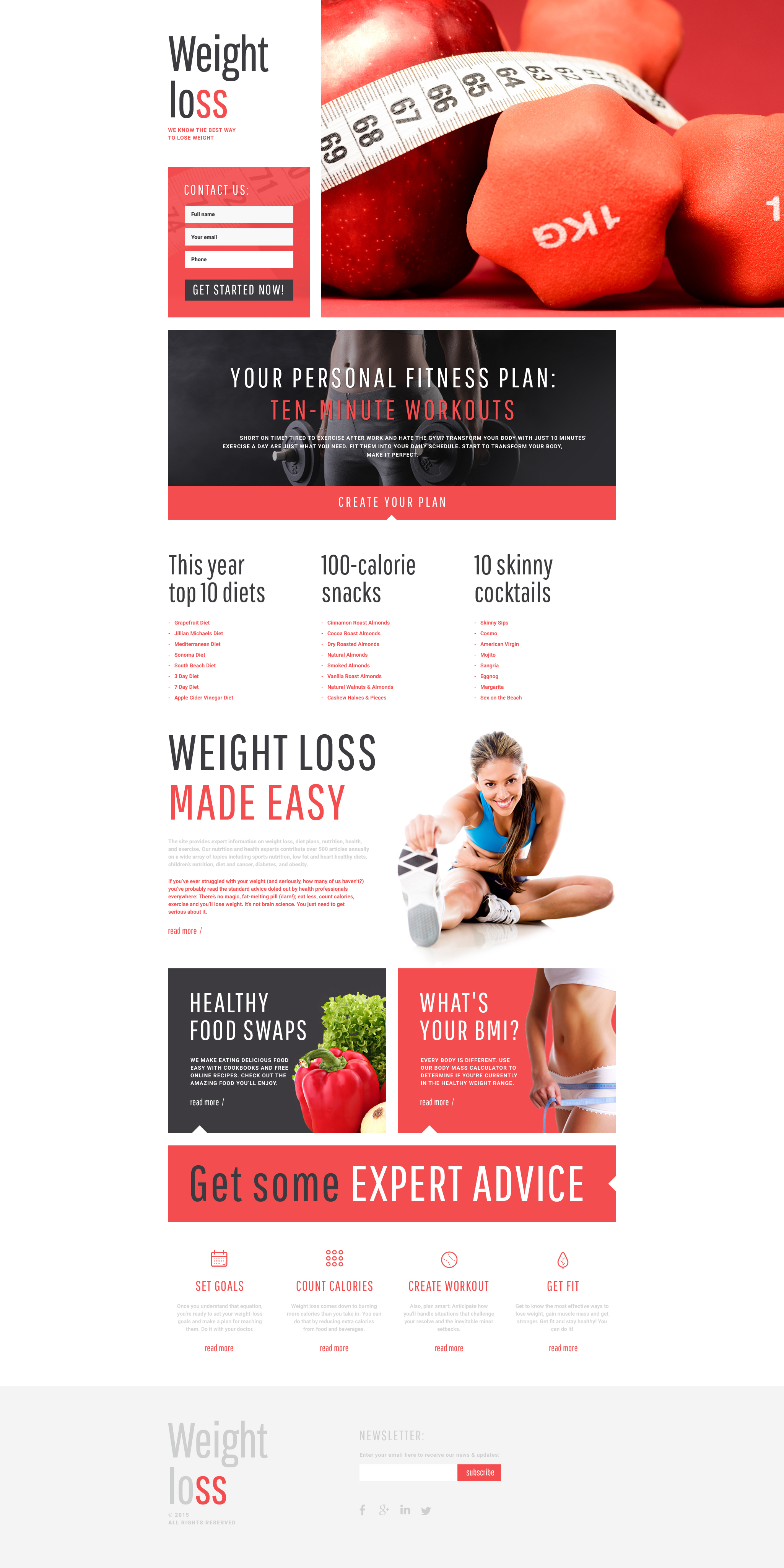 Weight Loss Responsive Landing Page Template 55572