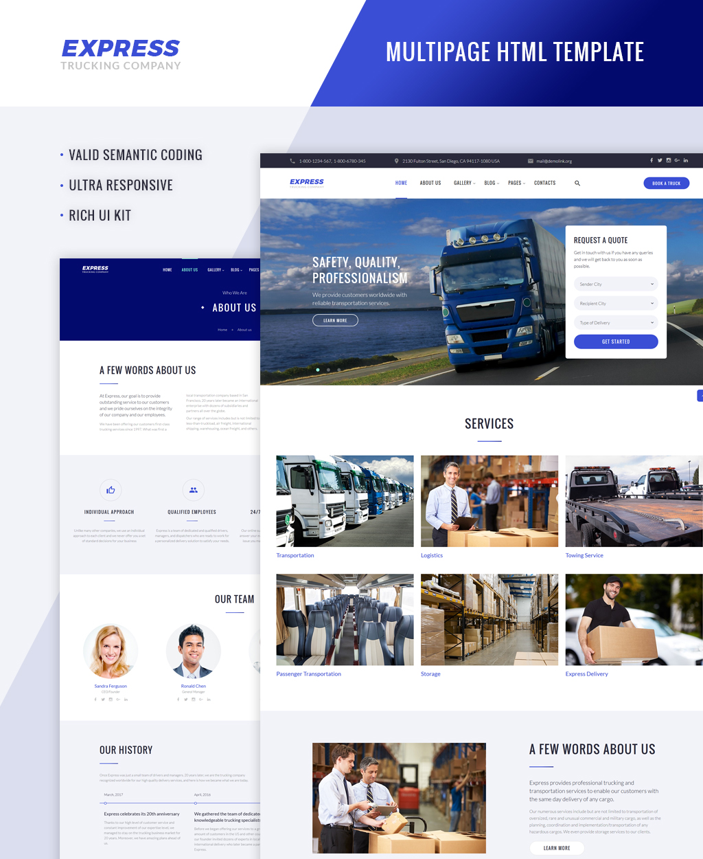 Express Logistics And Transportation Multipage Website Template
