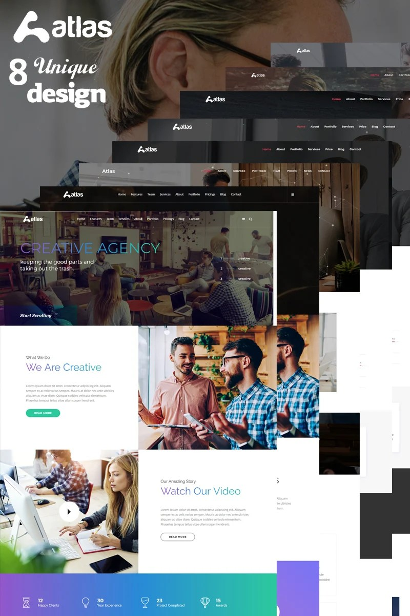 landing page template namens atlas one page creative agency html grosser screenshot