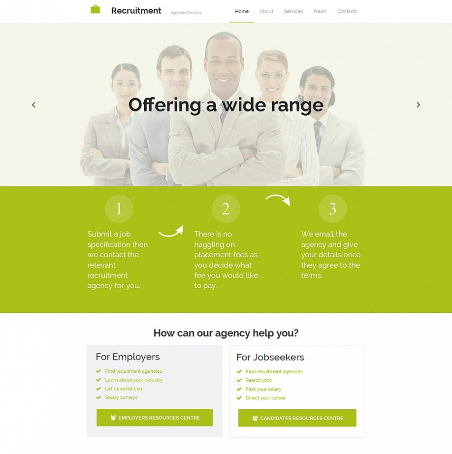 Recruitment Agency Website Template For Employment Site