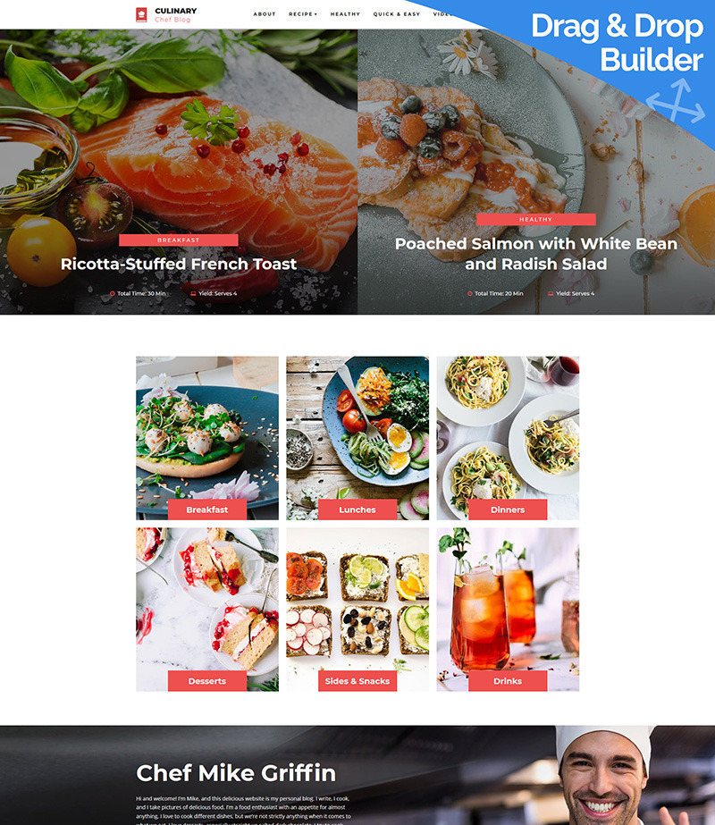 Recipe Website Template For Chef Blogs Motocms