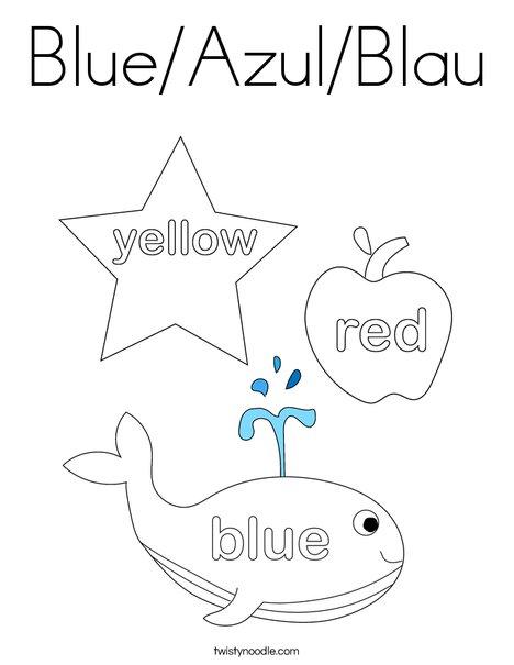 blue azul blau coloring page twisty noodle