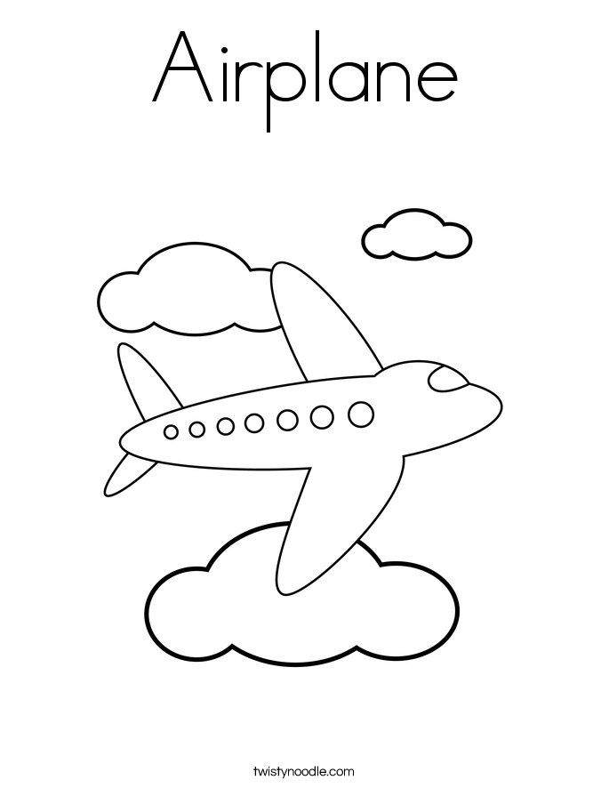 airplane coloring page twisty noodle