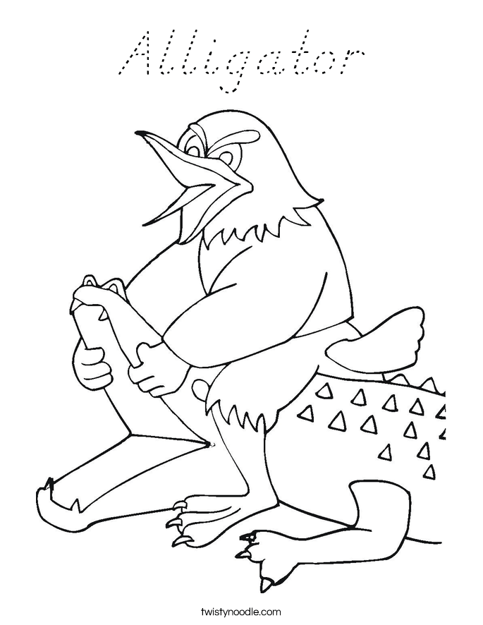 alligator coloring page d nealian twisty noodle