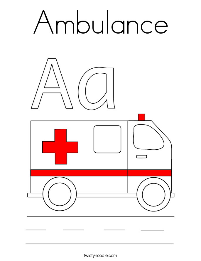 ambulance coloring page twisty noodle
