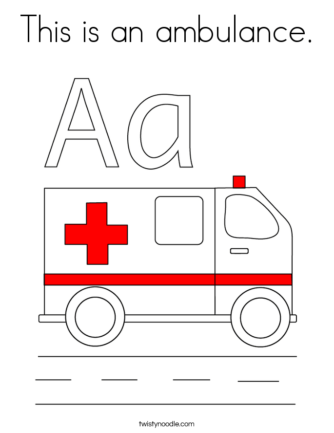 this is an ambulance coloring page twisty noodle