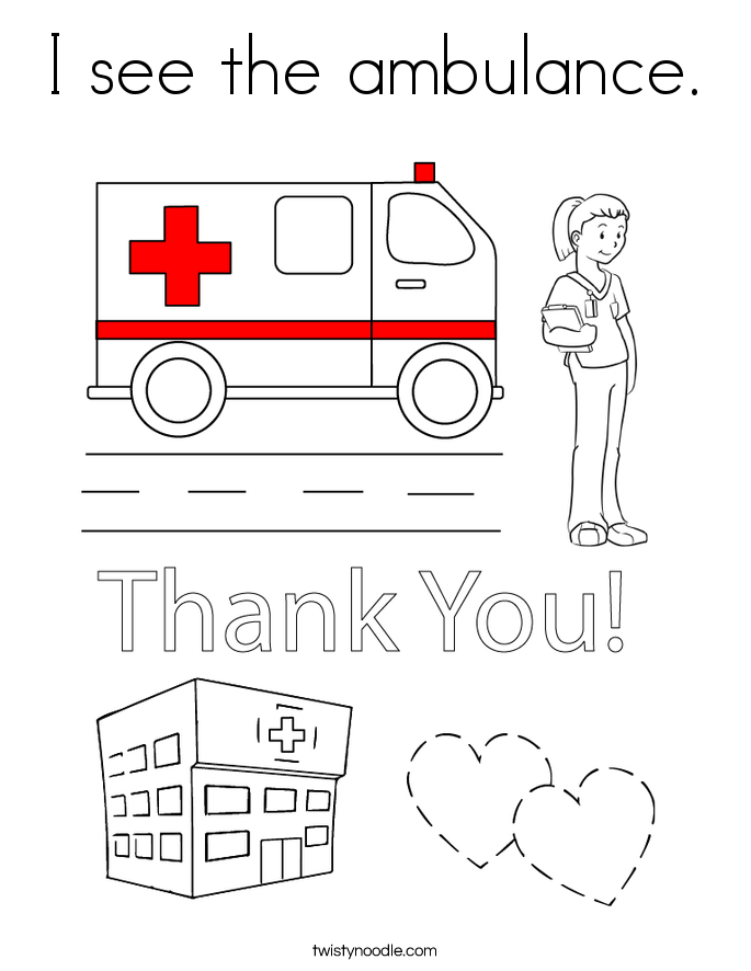i see the ambulance coloring page twisty noodle