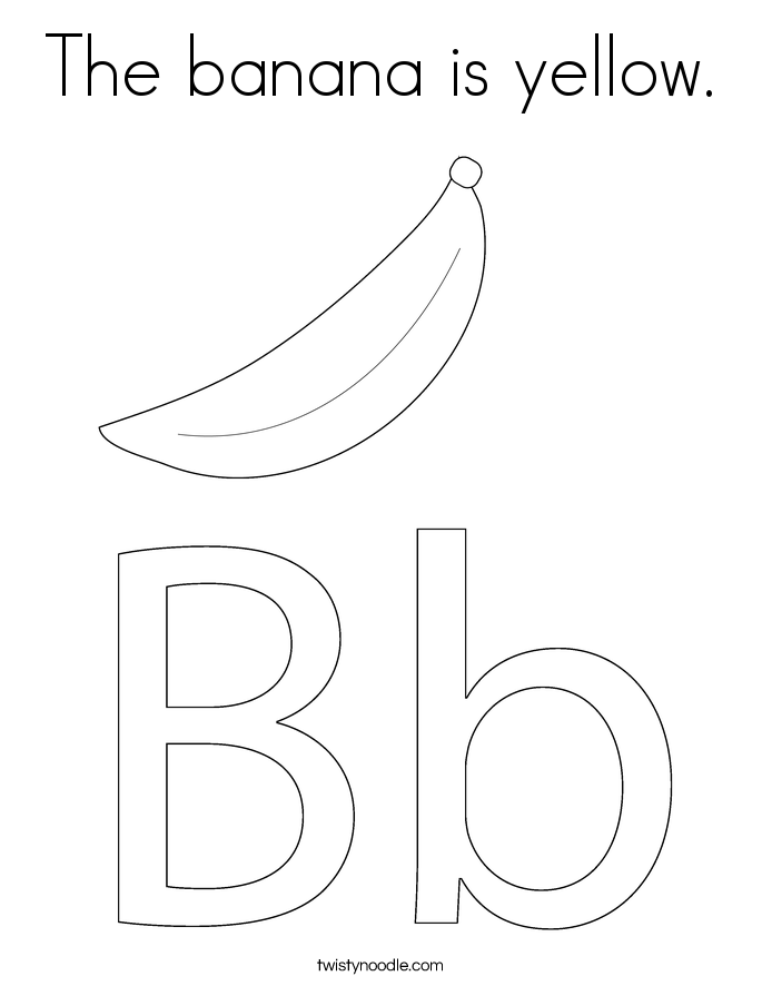 the banana is yellow coloring page  twisty noodle