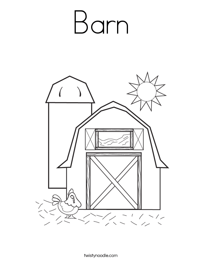 barn coloring page twisty noodle