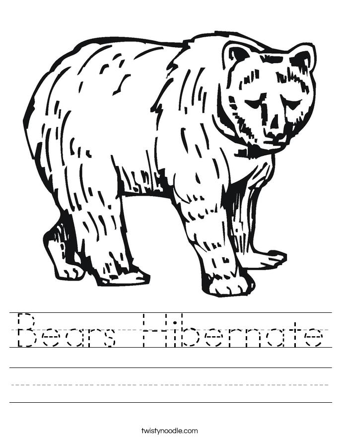Coloring Pages Of Bears Hibernation brown bear what do you see – Hibernation Worksheets Kindergarten