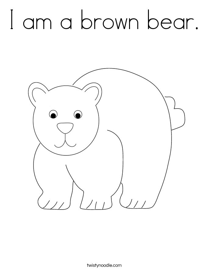 i am a brown bear coloring page twisty noodle
